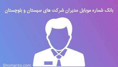 شماره موبایل مدیران شرکت های سیستان و بلوچستان