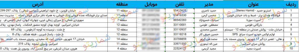 شماره تلفن فروشندگان ضیط و باند تهران