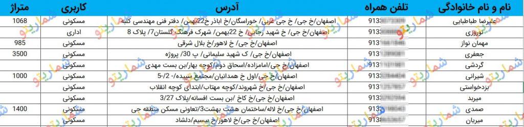 شماره موبایل سازندگان اصفهان